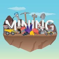 gruvarbetare platt sammansättning vektor
