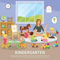 Kindergarten Babysitter Wohnung Komposition vektor
