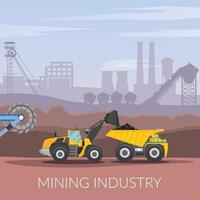 Bergbau Bergbau flache Zusammensetzung vektor