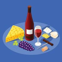 Hintergrund der isometrischen Weinproduktion vektor