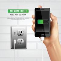 amerikansk uttag mobiltelefon illustration