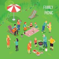 familjens picknickillustration vektor