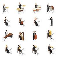 orkester isometriska människor ikoner vektor