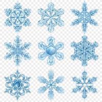 realistisches Schneeflockenset vektor