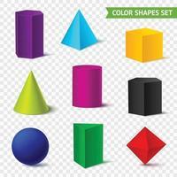 realistische geometrische Formen Farbsatz vektor