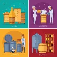 Honigproduktion Bienenhaus Cartoon 2x2 vektor
