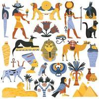 ägyptisches flaches Set vektor