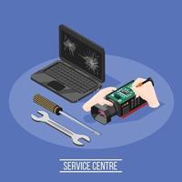 Service Center isometrische Zusammensetzung vektor