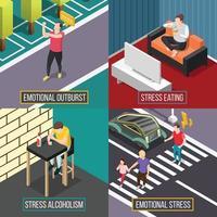 Stress und Depressionen Menschen 2x2 vektor