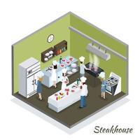 professionelles Kücheninterieur isometrisches Steakhouse vektor