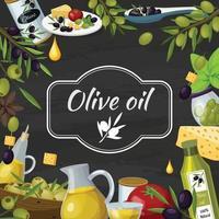 Oliven-Cartoon-Komposition vektor