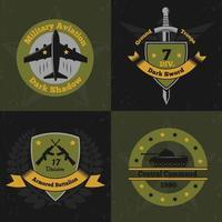 militärische Embleme Farbe 2x2 vektor
