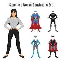 superhjälte kvinna konstruktör uppsättning vektor