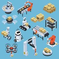 Isometrische Symbole für automatische Logistik und Lieferung vektor