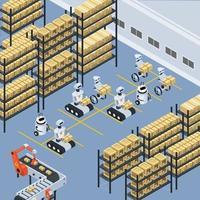 Automatische Logistik und Lieferung isometrische Zusammensetzung vektor