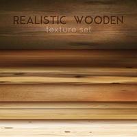 realistisk trä textur horisontell uppsättning vektor