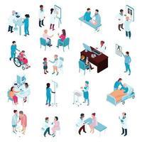 isometrische Ärzte Krankenschwestern eingestellt vektor