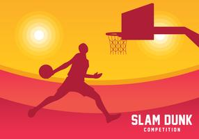 Slam Dunk Silhouette Bakgrund vektor
