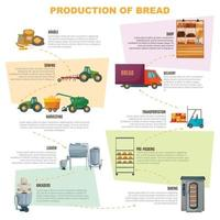 Mehlproduktionsstufen Infografiken vektor