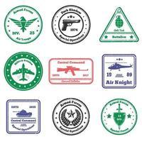 militärische Grunge-Briefmarken vektor