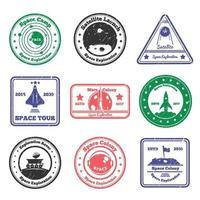 Weltraumforschung Grunge Briefmarken vektor
