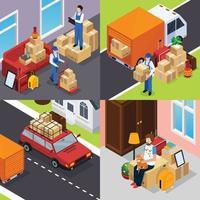 omlokaliseringstjänst som flyttar människor som flyttar företag isometrisk 2x2