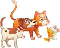 grupp av djur hund, katt och mus seriefiguren isolerad på vit bakgrund