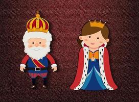 König und Königin Zeichentrickfigur auf rotem Hintergrund vektor