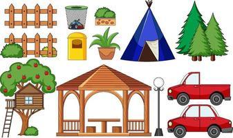 uppsättning campingföremål isolerade