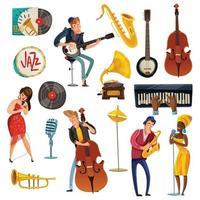 Jazz Musik Cartoon Set vektor