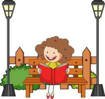 söt flicka läser bok doodle seriefigur