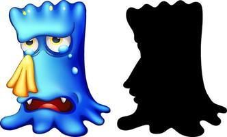 blaues Monster, das mit seiner Silhouette auf weißem Hintergrund weint