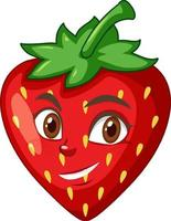 Erdbeer-Zeichentrickfigur mit Gesichtsausdruck