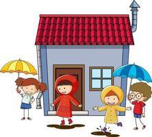 många barn gör olika aktiviteter runt huset vektor