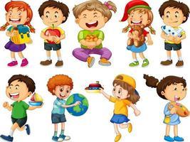 Satz verschiedene Kinderkarikaturfigur lokalisiert auf weißem Hintergrund