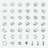 Vektorillustration von Wettersymbolen für Grafik, Website und mobiles Design vektor