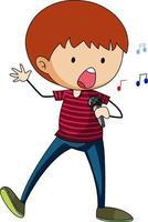 ein glücklicher Junge kritzelt Zeichentrickfigur isoliert
