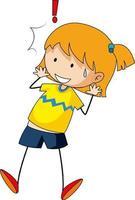 eine überraschte Mädchen kritzeln Zeichentrickfigur isoliert vektor