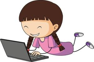 ein Gekritzelkind unter Verwendung der Laptop-Zeichentrickfigur isoliert