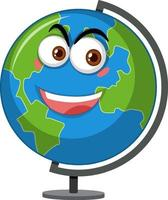 Globus-Zeichentrickfigur mit glücklichem Gesichtsausdruck auf weißem Hintergrund