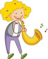ein Gekritzelkind, das Saxophon-Zeichentrickfigur isoliert spielt