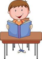 ein Junge, der Buch-Gekritzel-Zeichentrickfigur liest