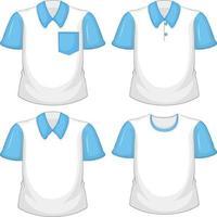 uppsättning av olika vita skjortor med blå korta ärmar isolerad på vit bakgrund
