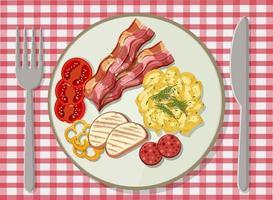 ovanifrån av frukost i en maträtt på bordet