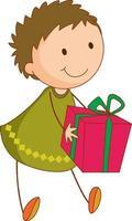 ein Gekritzelkind, das eine Geschenkbox-Zeichentrickfigur isoliert hält vektor