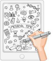 Handzeichnung medizinisches Element im Gekritzel- oder Skizzenstil auf Tablette