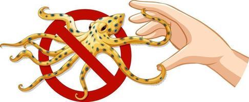varning blå ringad bläckfisk förbjuden skylt med handen på vit bakgrund