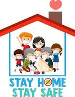 stanna hemma stanna säkert typsnitt med lycklig familj vektor