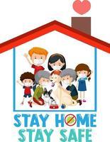 Bleib zu Hause Bleib sicher Schriftart mit glücklicher Familie vektor