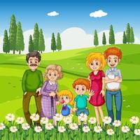 parkera utomhusplats med lycklig familj vektor